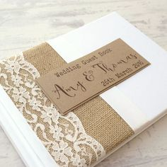 Hessian/Burlap Lace Wedding Guest Book