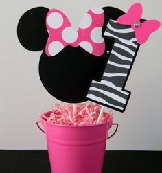 Minnie Mouse Birthday Party Smash Cake Topper - Hot Pink and Zebra