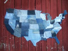 USA wall display made out of upcycled jeans <3 <3 <3