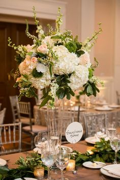 Blush, white and green tall centerpieces at The Carnegie Institute Washington, DC www.theflower.biz photo by Lisa Boggs Photography