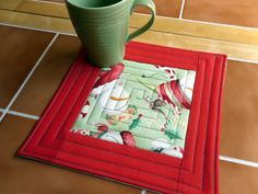 Christmas Mug Rug Number 314  Reversible by QuiltingDiva on Etsy, $7.00. Like the center square for the large Holiday prints I just bought.  That snowman block will look cute in a mug rug.