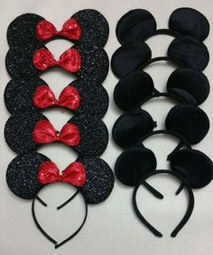12 MINNIE MICKEY MOUSE BLACK BOW SEQUIN BIRTHDAY FAVORS GIFTS HEADBAND