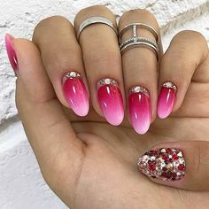Pink Ombre Acrylic Nail Design #ombrenails We have acrylic nail designs for short and long nails in a coffin,  almond, square, and other nail shapes. Matte, glitter, designs with  rhinestones. #naildesigns #acrylicnails #nailsart #glaminati #lifestyle