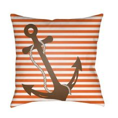 Surya Anchor On Pinstripe Outdoor Pillow   LIL001 1818