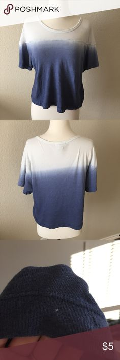 Blue Ombré Tee Shirt (96) Cute tee with white to dark blue ombré. Size small. One tiny white speck on the bottom. Tops Tees - Short Sleeve