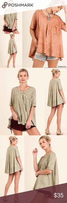 ❣️NEW❣️ Olive Burnout Oversized Loose Boho Tee Top Such a cute oversized top! Brand new! Runs true to women's size. L can fit XL as well so I gave it an option-large will be sent if XL is selected. Tops Blouses