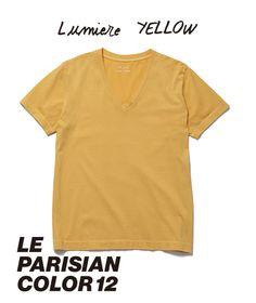 ◆ Lumiere YELLOW - ルミエールイエロー // 街で評判のフレンチプレスコーヒーに、バターたっぷりのクロワッサンをひとかじり。気持ちのいい朝の光を浴びたら、パリジャンの素敵な一日が始まります。パリの朝、光の色。ルミエール・イエロー。◆ 【 Tシャツ- V-NECK - WOMEN ¥3,900 ※ 税抜】 #lejun #tokyo #paris #europeancomfort #parisiancolor #lumiereyellow #bootcafe #ルジュン #パリジャンカラー #ルミエールイエロー