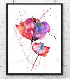 Tulipán rojo y púrpura acuarela arte flor  amapolas por Thenobleowl