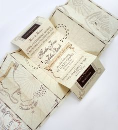 """Romance Managed"" invites styled after the Marauders Map from Harry Potter."
