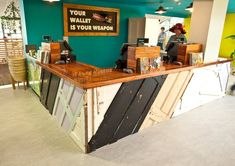 Reclaimed shop counter fitting well into Edens ethos; picture 15 of 15