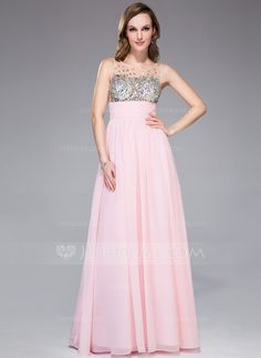 Empire Scoop Neck Floor-Length Chiffon Tulle Prom Dress With Ruffle Beading (018042713)