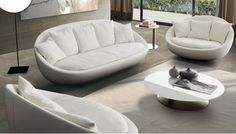 The Eros sofa by Studio IQ features a curved design to create a warm and cosy interior. This sofa is available from IQ Furniture. Furniture Showroom, Sofa Furniture, Living Room Furniture, Living Room Decor, Furniture Design, Design Your Bedroom, Living Room Sofa Design, Living Room Designs, Sofa Set Designs