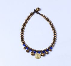 Beaded Anklet Royal Blue And Gold Beads by OneYellowButterflyy