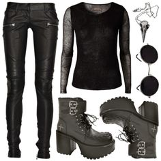 I love the idea of combat boots, leather pants, and the accessories. Not a fan of the top though. - DH