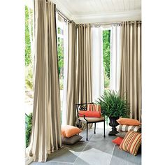 Our best-selling Ballard Indoor/Outdoor Drapery with weighted corners is sewn of washable, extra thick Sunbrella fabric to resist fading, stains and mildew. Deck Curtains, Outdoor Drapes, Indoor Outdoor, Outdoor Living, Pool House Decor, Gazebo Decorations, Deck Decorating, Custom Drapes, Drapery Panels