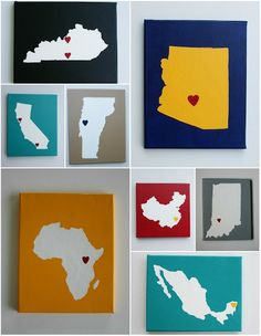 Places we've called home-state love paintings. Link is broken, but you could make this with construction paper by printing out the state map, cutting it out, gluing it backwards to construction paper and then cutting that out. Then glue it to a painted canvas :)