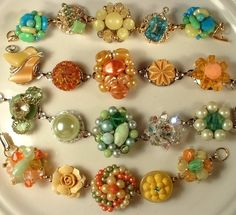 More bracelets created from vintage earrings. Of which I have a ton in my jewelry stash.