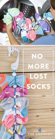 This sock organizing system keeps dirty socks clipped together until they're ready for the wash. When it's full, toss the organizer and socks into the washer and dryer. Hang your perfectly paired and clean socks, and you're ready to start the cycle all ov Sock Organization, Organizing, Bedroom Organization, Clothing Organization, Craft Stick Crafts, Diy Crafts, Lost Socks, Camper Hacks, Getting Organized