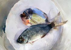 Still life - www. Watercolor Fish, Watercolor Animals, Watercolor Paintings, Watercolours, Wood Fish, Fish Print, Painting Still Life, Animal Paintings, Fish Paintings