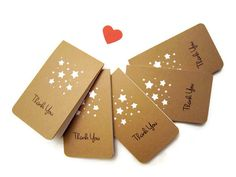 Mini Thank you Card /Kraft Thank you card / by HeartStreet on Etsy
