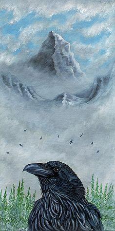 Acrylic on canvas. #raven #corvid #mountain #art #artwork #painting acrylic# #ravens #peak