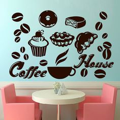 Wall Decals Coffee House Decal Vinyl Sticker Home Decor Interior Design Bedroom Kitchen Cafe Restaurant Mural Ah45