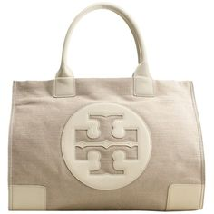 Pre-owned Tory Burch Metallic Canvas Ella Beige Tote Bag (8.095 RUB) ❤ liked on Polyvore featuring bags, handbags, tote bags, beige, canvas tote bag, beige purse, tory burch tote, beige tote bag and pocket tote