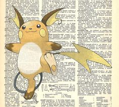 Raichu Pokemon Dictionary Art Print by MollyMuffinsPrints on Etsy