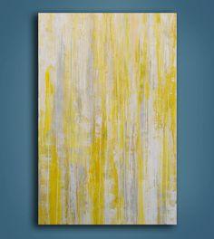 Gray and Yellow Acrylic Painting by erinashleyart on Etsy