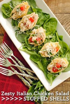Zesty Italian Chicken Salad Stuffed Shells   The perfect party or light dinner dish
