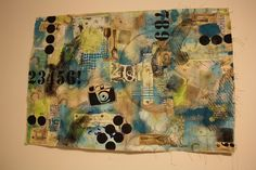 canvas mixed media; acrylic paint,crayon rubs, hand cut stencils, & paper collaging