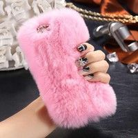 Material: Fur Feature:Luxury,Fluffy, Bling cute bow, Winter chic, Warm phone case, Function:Dirt-res