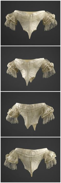 Evening bodice with lace bertha and engageantes, 1857-58, Château de Compiègne. This was the bodice that Empress Eugénie of France was wearing at the time of Orsini's assassination attempt (January 14, 1858). Photos © RMN-Grand Palais (domaine de Compiègne) / René-Gabriel Ojéda. (See link: http://www.photo.rmn.fr/archive/08-532886-2C6NU0TLUA9F.html)