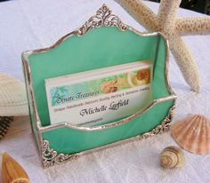 Items similar to Light Teal Business Card Holder on Etsy Business Card Displays, Artist Business Cards, Business Card Holders, Stained Glass Art, Mosaic Glass, Fused Glass, Tiffany, Bussiness Card, Clinic Design