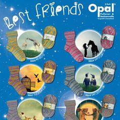 Opal Sock Yarn Best Friends. New from Opal 8 lovely combinations of striking colours representing friendship.