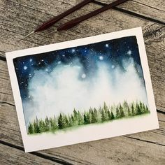 "Gefällt 1,544 Mal, 43 Kommentare - Silje (@sil.jy) auf Instagram: ""Another tiny forest, this time with a starry night sky ⭐️ That you like these paintings means so…"""