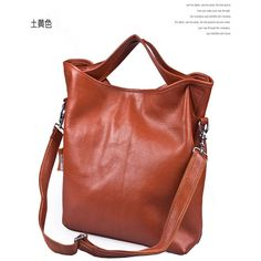 Buy High-quality Real Cow Leather Tote Bag Ochre with cheapest... via Polyvore