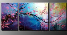 Huge Modern Abstract Flower Art Oil painting Wall Decor Canvas (No Frame) in Art, Direct from the Artist, Paintings Oil Painting Flowers, Oil Painting On Canvas, Painting Art, Painting Clouds, 3 Piece Painting, Painting Classes, Painting Abstract, Multiple Canvas Paintings, China Painting