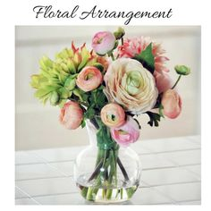Dahlia Ranunculus Floral Arrangement in Decorative Vase to decorate your home or special parties