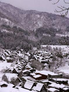 Shirakawa Go Japan during winter. This town is a real life snow globe.
