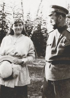 Grand Duchess Anastasia Nikolaevna of Russia with her father, Nicholas II, circa 1916.