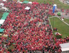 Ato beneficente reúne 16 mil Papais Noéis em Turim. (foto: ANSA)