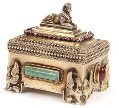648: EGYPTIAN SILVER-GILT & GEMSTONE MOUNTED SNUFF BOX