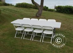 PARTY PACKAGE, 1 FOLDING TABLE (242 CM) + 8 CHAIRS, LIGHT GREY/WHITE Party package ideal for marquees. Buy this set and save money! Durable rental quality.