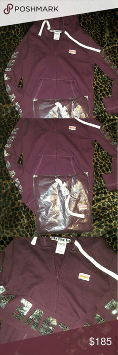 New victoria's secret bling hoodie Have 2 new victoria's secret burgundy Bling hodies. Both xs.  Not sure about getting rid of unless it's something I really like . Would trade for stuff on my iso list . PINK Victoria's Secret Jackets & Coats