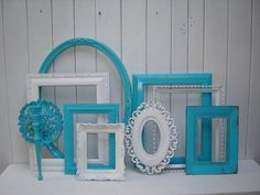 Frame Collection for Gallery Wall Turquoise Blue and White Open Picture Frames on Etsy, $142.14 CAD