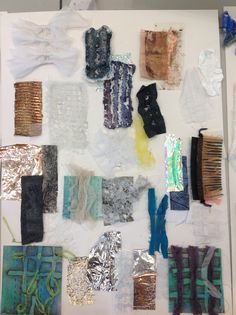 Heat press samples, mixed textiles media