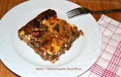 Ανοικτή μελιτζανόπιτα με κιμά (VIDEO) - cretangastronomy.gr Lasagna, Herbs, Dishes, Ethnic Recipes, Food, Tablewares, Essen, Herb, Meals