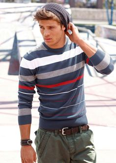 relaxed  look, beanie, striped sweater, khaki pants / men fashion