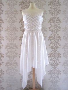 EVELYN Ivory Silk Ruffles Sweetheart Embroidery by FoldedRoses, $220.00